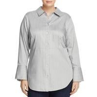 Foxcroft Gray  Women's Size 16W Plus Stripe Button Up Shirt