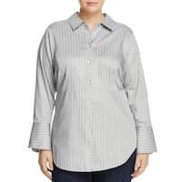 Foxcroft Gray Women's Size 22W Plus Stripe Print Button Up Shirt