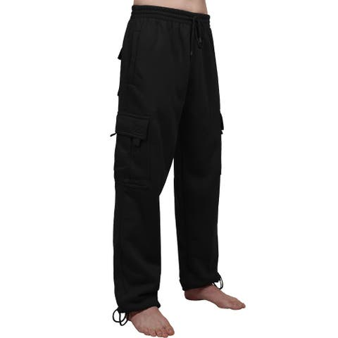 NE PEOPLE Mens Comfy Elastic Drawstring Fleece Cargo Sweat Pants
