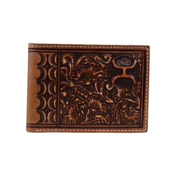 HOOey Western Wallet Mens Bifold Scalloped Pockets Slots - 4 x 3/4 x 3