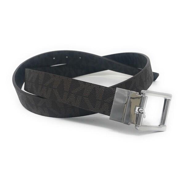 Michael Kors Women's 30mm Brown To Black Reversible MK Logo Monogram Synthetic Leather Belt 553793C