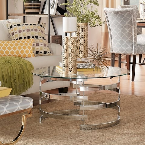 Nova Round Glass Top Vortex Iron Base Accent Table or End Table by iNSPIRE Q Bold