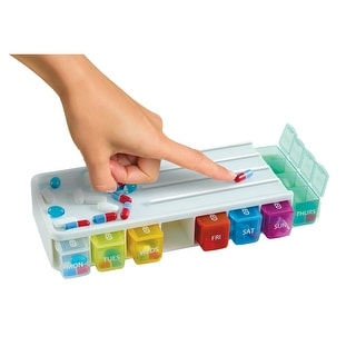 7 Day Pill Organizer - 28 Color Coded Compartments W. Pill Slicer - Set Of 2