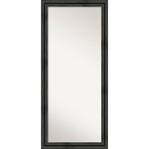 Rustic Black Pine Floor Leaner Mirror - 65.38 x 29.38 x 0.757 inches deep