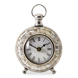 "5.75"" Analog Capiz Shell Desk Clock with Roman Numeral Face"