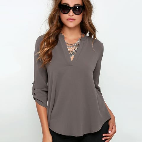 Casual V-neck Chiffon Top