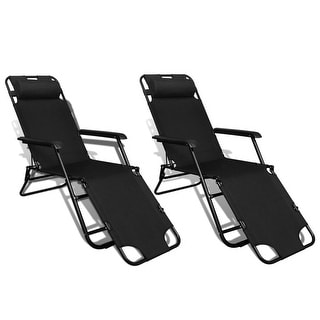 "vidaXL Folding Sun Lounger 2 pcs with Footrests Steel Black - 70"" x 23.6"""