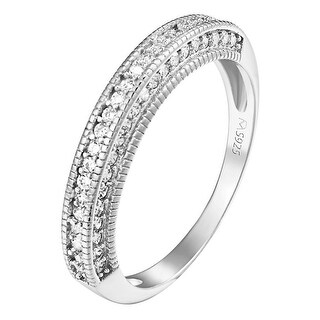 Womens Wedding Band Ring Engagement Sterling Silver Simulated Diamond Ladies