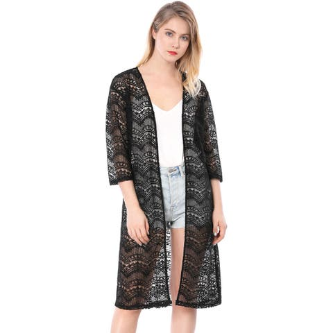 Allegra K Women 3/4 Sleeves See Through Open Front Lace Cardigan