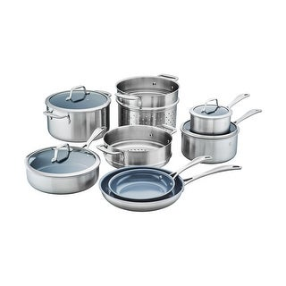 ZWILLING Spirit 3-ply 12-pc Stainless Steel Ceramic Nonstick Cookware Set - STAINLESS STEEL