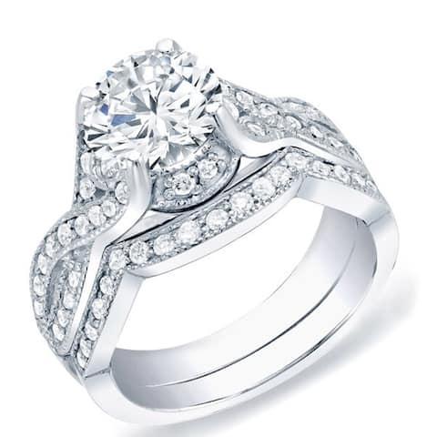 Auriya 14k Gold 1 1/2ctw Vintage Round Diamond Engagement Ring Set Certified