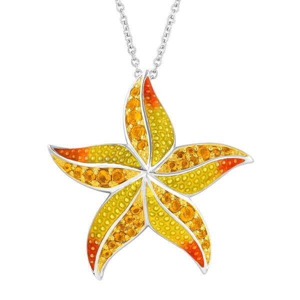 1 ct Natural Citrine Starfish Pendant in Sterling Silver - Yellow