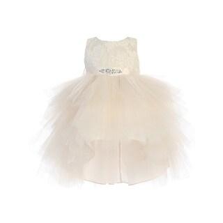 Baby Girls Champagne Lace Bodice Beaded Sash Hi-Low Flower Girl Dress