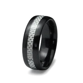8mm Black Ceramic Ring with Grey Carbon Fiber Inlay