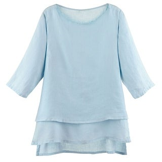Women's Tunic Top - Long Layered Linen Blouse with 3/4 Sleeves