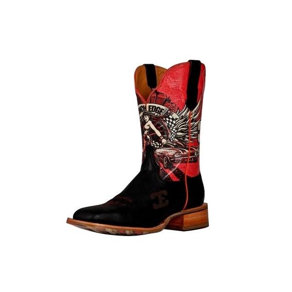 Cinch Western Boots Mens Edge Cowboy Race Ready Black Red