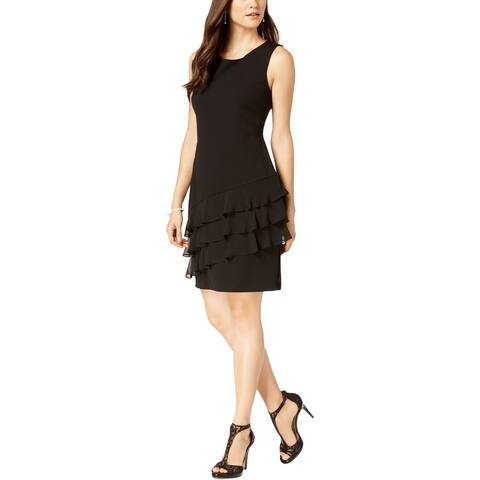Connected Apparel Womens Petites Cocktail Dress Sleeveless Ruffle Hem
