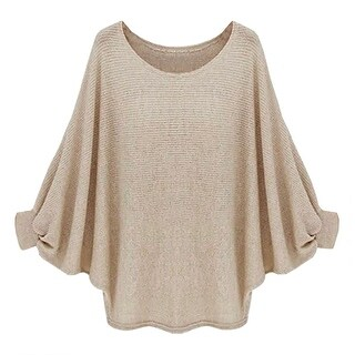 QZUnique Women Sleeves Pullover Loose Sweater Blouse T-Shirt Top