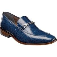 Stacy Adams Men's Santiago Bit Loafer 25087 Blue Eelskin Print Leather