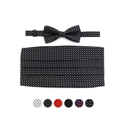 Men's Dotted Matching Adjustable Cummerbund and Bow tie Set - Regular