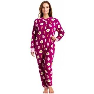 PJ Couture Women's All-In-One Plush Fun Breakfast Bodysuit - Berry