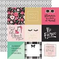 "Fashionista Double-Sided Cardstock 12""X12""-4""X4"" Journaling Cards"