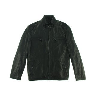 Kenneth Cole Mens Leather Mock Neck Motorcycle Jacket
