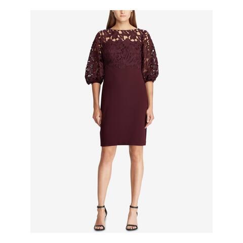 RALPH LAUREN Burgundy 3/4 Sleeve Above The Knee Sheath Dress Size 2