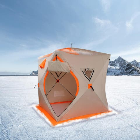 Portable Pop-up Ice Fishing Shelter Tent, for 3-4 Person - N/A
