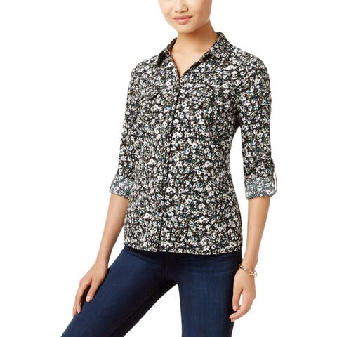 NY Collection Womens Petites Button-Down Top Printed Utility