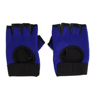 Skating Weightlifting Cycling Fitness Half Finger Fingerless Gloves Blue Pair