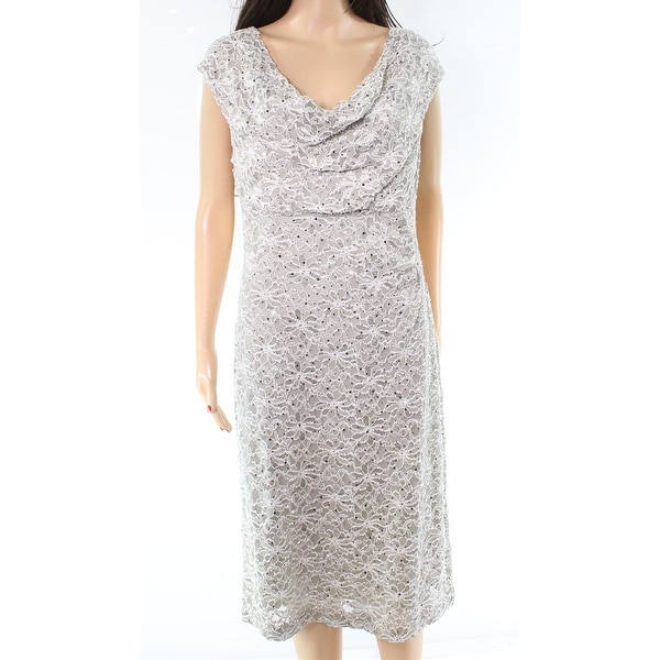 Connected Apparel Gray Floral Lace Sequin Draped 14 Sheath Dress