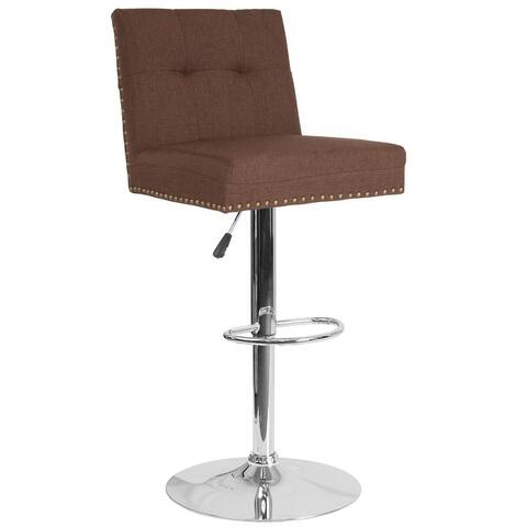 """Adjustable Height Tufted Back Barstool w/Accent Nail Trim in Gray LeatherSoft - 17.5""""W x 20""""D x 38"""" - 46.5""""H"""
