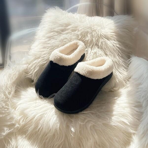 Women's Plush Fleece Memory Foam Slippers Slip on Clog House Shoes Indoor Outdoor. Opens flyout.
