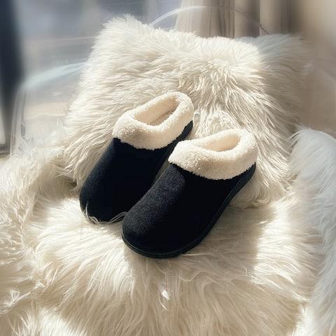 Women's Plush Fleece Memory Foam Slippers Slip on Clog House Shoes Indoor Outdoor
