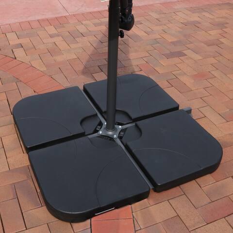 Sunnydaze Heavy-Duty Cross Umbrella Water Sand Cantilever Base - 4 Weights - Black
