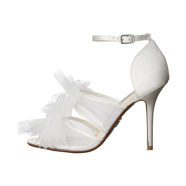 Betsey Johnson Womens Big Satin Open Toe Ankle Strap D-orsay, Ivory, Size 7.5
