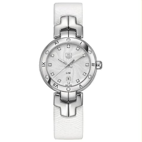 Tag Heuer Women's WAT1413.FC6316 'Link' White Leather Watch - Silver