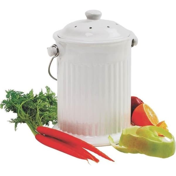 Shop Norpro 93 White Ceramic Compost Keeper 10 5 X 8 Overstock 15195141