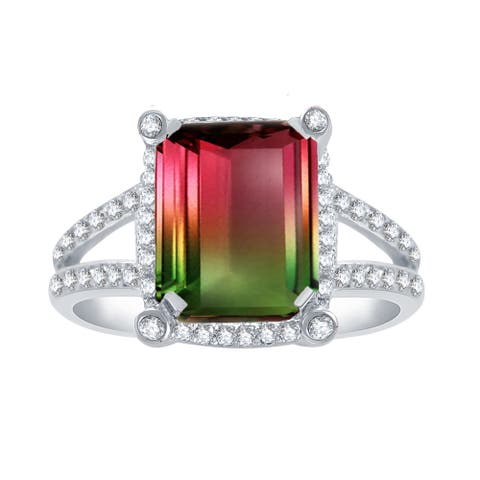 Sterling Silver with Watermelon Tourmaline and Natural White Topaz Halo Statement Ring