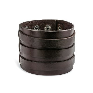 Bling Jewelry Stainless Steel Brown Leather Cuff Bracelet 8.5in