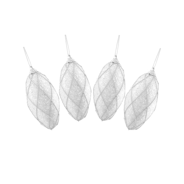"""4ct White and Silver Beaded and Glittered Shatterproof Christmas Finial Ornaments 4.5"""""""