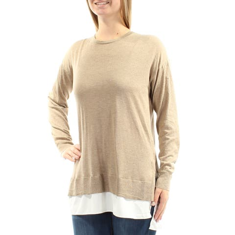 Ralph Lauren Womens Beige Long Sleeve Jewel Neck Tiered Sweater Size: M