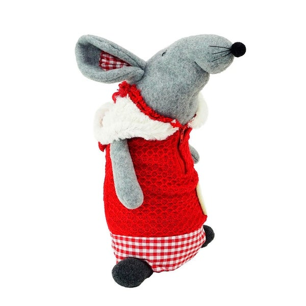 "12"" Standing Mouse with Red Hooded Coat Christmas Tabletop Decoration"