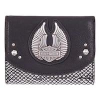 "Harley-Davidson Women's Wing Disco Genuine Leather RFID Wallet HDWWA11347-BLK - 4.5"" x 3.5"""