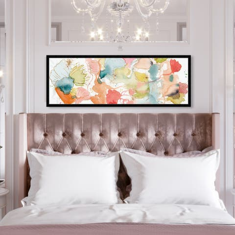 Oliver Gal 'My Wild Garden' Abstract Framed Wall Art Prints Watercolor - Blue, Orange