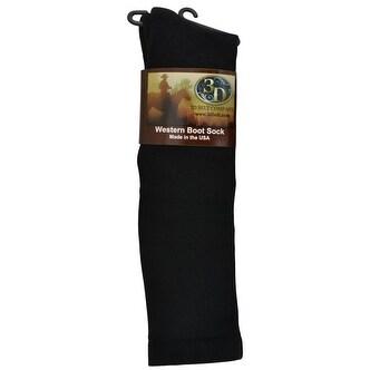 3D Western Boot Socks Mens Womens Over Calf Polyester Black
