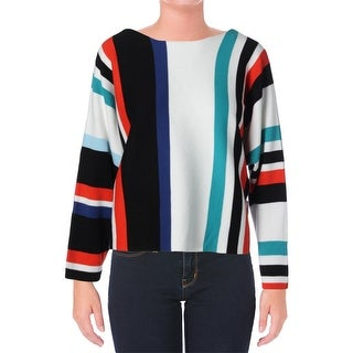 Vince Camuto Womens Striped Boatneck Pullover Sweater - M