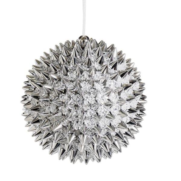 "4"" Silver Beaded Spiky Christmas Ball Ornament (100mm)"