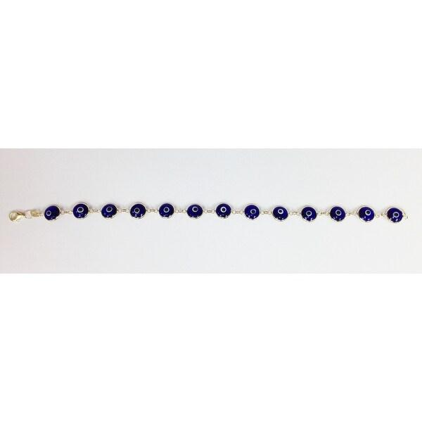 Mcs Jewelry Inc 14 KARAT YELLOW GOLD BLUE EVIL EYE BRACELET (7.5 INCHES)